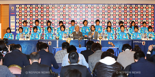 U-17Japan team group (JPN), APRIL 7, 2014 - Football / Soccer : Japan U-17 Women's national soccer team hold a news conference in Tokyo on April 7, 2014. Japan team won the FIFA U-17 Women's World Cup in Costa Rica. (Photo by Motoo Naka/AFLO)