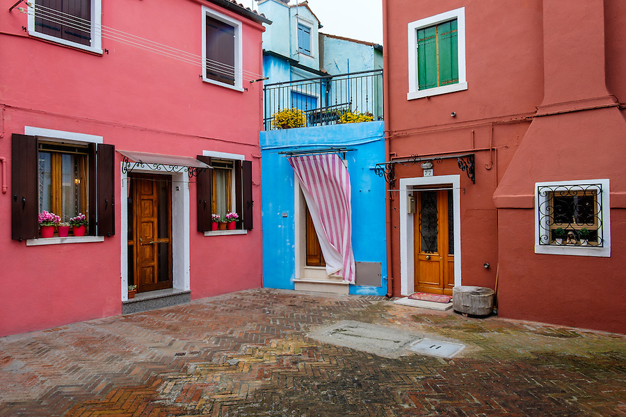 VENICE, ITALY - CIRCA MAY 2015: View of colorful houses in Burano, Venice.