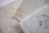 Studio Line, Ready to ship 7.0 cm Hex in Creme Brulee, Cloud Nine, and Statuary Carrara