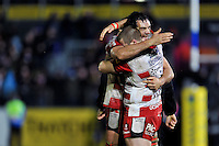 Paddy McAllister and Mariano Galarza of Gloucester Rugby celebrate after the match. Aviva Premiership match, between Bath Rugby and Gloucester Rugby on February 5, 2016 at the Recreation Ground in Bath, England. Photo by: Patrick Khachfe / Onside Images