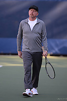 FLUSHING NY- AUGUST 28: Boris Becker on the practice court at the USTA Billie Jean King National Tennis Center on August 28, 2016 in Flushing Queens. Photo by MPI04 / MediaPunch