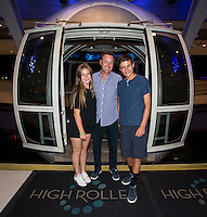 """LAS VEGAS, NV - AUGUST 3:   ***HOUSE COVERAGE*** Chris Harrison, host of popular American romance/reality series """"The Bachelor,"""" """"The Bachelorette"""",  """"Bachelor in Paradise"""" and """"Who Wants To Be A Millionaire,"""" pictured 550 feet above Las Vegas on the High Roller observation wheel at The LINQ Promenade with daughter Joshua and son Taylor in Las Vegas, Nevada on August 3, 2016. Credit: Erik Kabik Photography/ MediaPunch"""