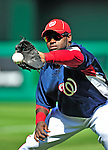 23 April 2010: Washington Nationals' shortstop Cristian Guzman warms up prior to a game against the Los Angeles Dodgers at Nationals Park in Washington, DC. The Nationals defeated the Dodgers 5-1 in the first game of their 3-game series. Mandatory Credit: Ed Wolfstein Photo