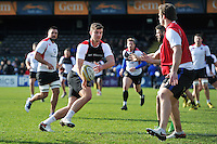 Ollie Devoto of Bath Rugby passes the ball. Bath Rugby Captain's Run on February 19, 2016 at the Recreation Ground in Bath, England. Photo by: Patrick Khachfe / Onside Images