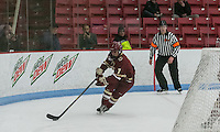 Boston, Massachusetts - February 9, 2016: NCAA Division I, Beanpot Tournament final. Boston College (maroon) defeated Northeastern University (white/black), 7-0, at Walter Brown Arena.