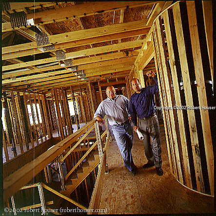 David Florsheim - Florsheim Homes, and William Hezmalhalch - Architect - photographed at a jobsite in Manteca, CA: Executive portrait photographs by San Francisco - corporate and annual report - photographer Robert Houser.
