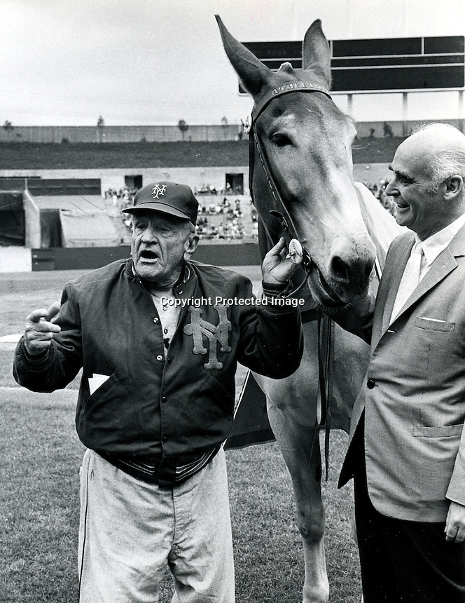 "N.Y.Mets manager Casey Stengel with the mule ""Charlie O"" and A's owner Charles O. Finley..copyright Ron Riesterer"