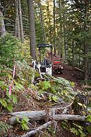 Mountain bike trail building equipment and progress in Copper Harbor Michigan Michigan's Upper Peninsula.