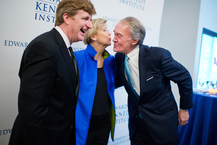 UNITED STATES - MARCH 29: From left, Former Rep. Patrick Kennedy, D-R.I., Sen. Elizabeth Warren, D-Mass., and Sen. Ed Markey, D-Mass., talk during a gala that was part of the dedication ceremony for the Edward M. Kennedy Institute for the United States Senate in Boston, Mass., March 29, 2015. Patrick is the son of the late Senator. (Photo By Tom Williams/CQ Roll Call)