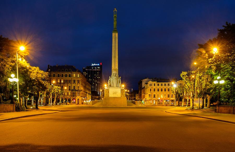 RIGA, LATVIA - CIRCA MAY 2014: The Freedom Monument in Riga at night