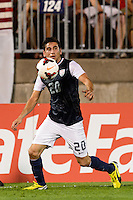 United States midfielder Alejandro Bedoya (20). The United States defeated Costa Rica 1-0 during a CONCACAF Gold Cup group B match at Rentschler Field in East Hartford, CT, on July 16, 2013.