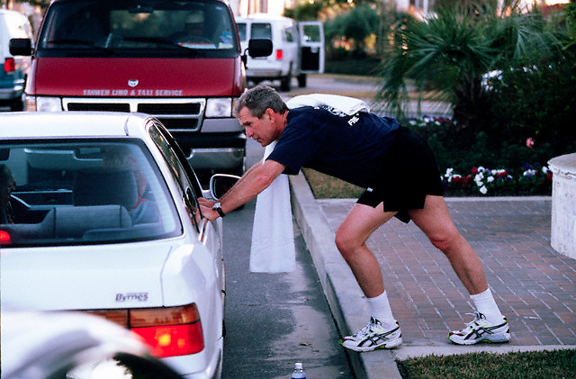 11 Jan 2000, South Carolina, USA --- Texas Governor George W. Bush jogs while on the campaign trail in South Carolina.  --- Photo by Brooks Kraft/Corbis Sygma --- Image by © Brooks Kraft/Sygma/Corbis