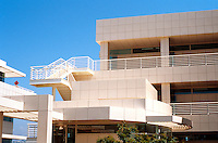"""Richard Meier: The Getty Center. Detail--the north wall of North Pavilion--Corbusian """"ocean liner"""" railings.  Photo '99."""