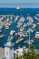 Catalina Island, CA, Avalon, harbor, USA, Santa Catalina, Island, Yachts, Moored,