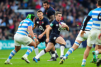 George Ford of England  in possession. Old Mutual Wealth Series International match between England and Argentina on November 26, 2016 at Twickenham Stadium in London, England. Photo by: Patrick Khachfe / Onside Images