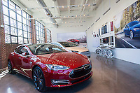 The new Tesla Motors showroom and service center is almost ready to open in the Red Hook neighborhood of Brooklyn in New York, seen on Saturday, March 12, 2016. (© Richard B. Levine)