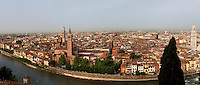 General view of Verona, Italy, with the Adige River, the Basilica of Saint Anastasia and the Torre Dei Lamberti on the right, and the Cathedral (Duomo) on the left. This view was taken from the hill of Castel San Pietro, known by the Romans as Mons Gallus. Picture by Manuel Cohen.