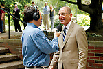 WUKY's Alan Lytle interviews UK President Eli Capilouto during an informal meet and greet and ice cream social July 5 outside the Student Center.