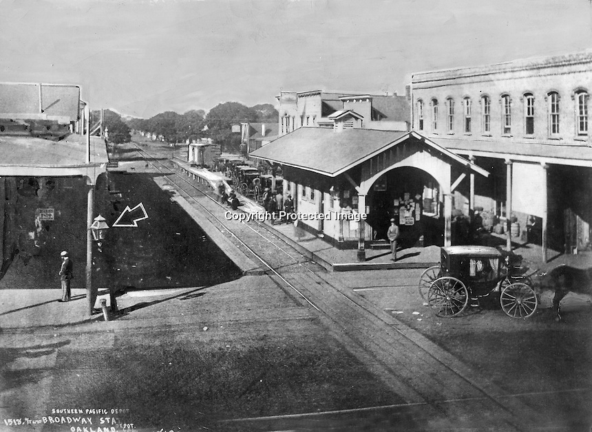 Southern Pacific Depot, Broadway Station in Oakland , California (1869 photo)