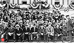 Prominent city and state officials sit in the reviewing stand at City Hall during the 1936 St. Patrick's Day festivities in Waterbury.