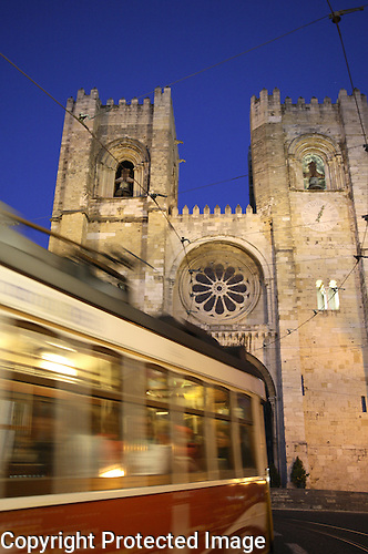 Tram and Cathedral, Lisbon, Portugal