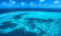 Aerial view of Australia Great Barrier Reef North Queensland