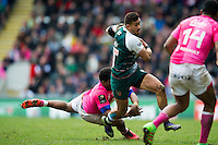 Peter Betham of Leicester Tigers takes on the Stade Francais defence. European Rugby Champions Cup quarter final, between Leicester Tigers and Stade Francais on April 10, 2016 at Welford Road in Leicester, England. Photo by: Patrick Khachfe / JMP