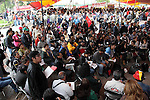 Hundreds of people listen a speech while attendig the National Convention against the imposition of Enrique Pena Nieto in San Salvador Atenco, Mexico state, July 14, 2012. More than two thousand people from twenty five states attended the Convention to plan actions in order to prevent Pena Nieto to take office on December 1, 2012 as they accuse him from buying ballots and money laundering during the elections . Photo by Heriberto Rodriguez