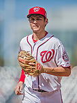 20 September 2015: Washington Nationals infielder Trea Turner returns to the dugout during a game against the Miami Marlins at Nationals Park in Washington, DC. The Nationals defeated the Marlins 13-3 to take the final game of their 4-game series. Mandatory Credit: Ed Wolfstein Photo *** RAW (NEF) Image File Available ***