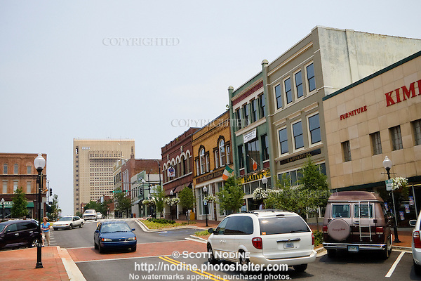 Shops, restaurants, and businesses, along West Main Street and Church ...