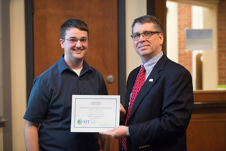 Ian Armstrong won first prize in the 3 Minute Thesis Competition held at the Stocker Center on February 15, 2017.