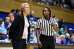 14 December 2015: UMass head coach Sharon Dawley (left) with referee Angela Lewis (right). The Duke University Blue Devils hosted the University of Massachusetts Minutewomen at Cameron Indoor Stadium in Durham, North Carolina in a 2015-16 NCAA Division I Women's Basketball game. Duke won the game 70-46.