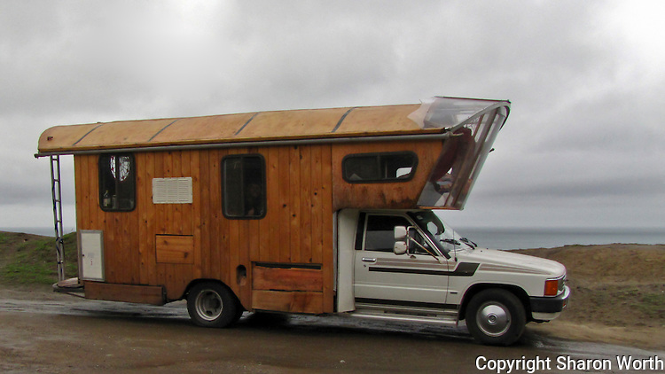 Traveling in style or traveling with pizzazz, this modified camper rig was spotted in a pull-out along Highway 1 south of San Francisco on New Year's Day 2011 - what a way to start the year!