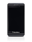 Blackberry Z10 smartphone with blank screen. Black phone isolated on white background with clipping path
