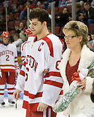 Joe Pereira (BU - 6), Sherry Pereira - The Boston University Terriers honored their four seniors following their final game of the regular season on Saturday, March 5, 2011, at Agganis Arena in Boston, Massachusetts.