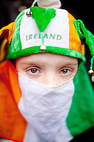 17/3/2011. ST PATRICKS DAY DUBLIN. Shane Dillon is pictured on College Green enjoying the Dublin St Patricks Day Parade. Picture James Horan/Collins Photos