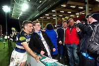 George Ford of Bath Rugby poses for a photo with supporters after the match. Aviva Premiership match, between Gloucester Rugby and Bath Rugby on March 26, 2016 at Kingsholm Stadium in Gloucester, England. Photo by: Patrick Khachfe / Onside Images
