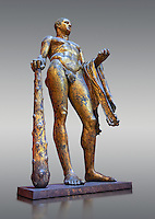 Gilded bronze 1st century AD Roman statue of Hercules found buried near Pompey's Theatre having possibly been struck by lightening and given a customary Roman burial. A Roman copy of a Hellenistic Athenian staue from around 390-370 BC, Vatican Museum Rome, Italy,  grey background