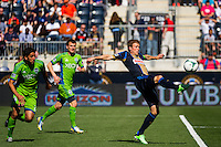 Brian Carroll (7) of the Philadelphia Union. The Philadelphia Union and the Seattle Sounders played to a 2-2 tie during a Major League Soccer (MLS) match at PPL Park in Chester, PA, on May 4, 2013.