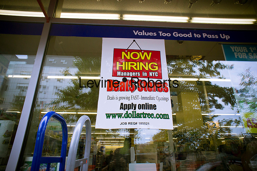 A discount store chain, Deal$ Stores, in New York announces that it is hiring managers, seen on Monday, September 3, 2012.  Deal$ Stores is a brand of the discount chain Dollar Tree. (© Richard B. Levine)