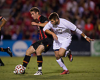 David Kabelik (16) of Maryland fights for the ball with Ryan Myers (10) of Pittsburgh during the game at Ludwig Field on the campus of the University of Maryland in College Park, MD.  Maryland defeated Pittsburgh, 2-0.