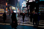New York, New York<br /> USA<br /> February 2, 2011<br /> <br /> Winter evening on Times Square Manhattan.