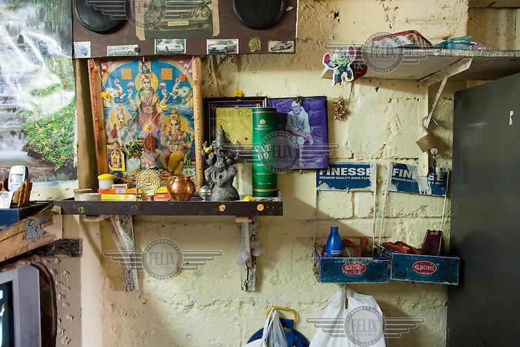 House interior in Dharavi slum.