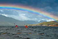 Galway, Ireland, August 2013. A rainbow over Ballinakill Harbour. Duncan Warner of Give it a Go Sea Kayaking takes us along the Galway coast of west Ireland to Connamara, Slyne Head, Streamstown, Ballinakill harbour, Cladaghduff, Old Head Campsite near westport and clew bay.  Photo by Frits Meyst/Adventure4ever.com