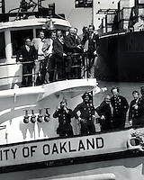 President Jimmy Carter with Oakland mayor Lionel Wilson on the City of Oakland fireboat. <br />