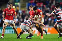 Will Skelton of Saracens takes on the Leicester Tigers defence. Aviva Premiership match, between Leicester Tigers and Saracens on January 1, 2017 at Welford Road in Leicester, England. Photo by: Patrick Khachfe / JMP