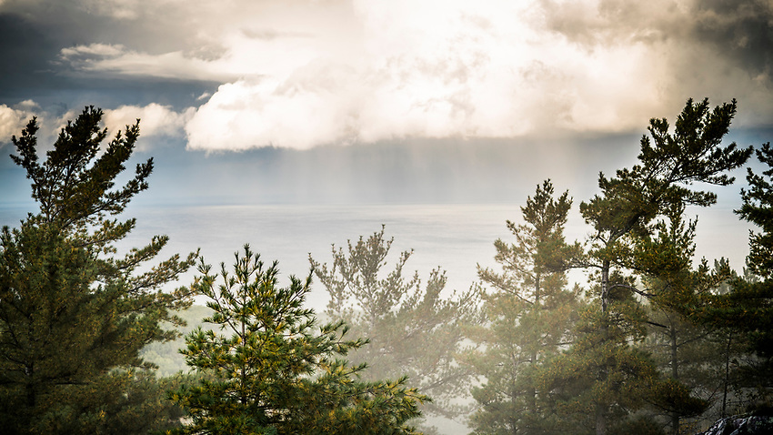 Stormy fall weather over Lake Superior at Marquette, Michigan.