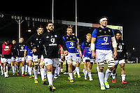 Francois Louw of Bath Rugby leads his team off the field at the end of the pre-match warm-up. Aviva Premiership match, between Harlequins and Bath Rugby on March 11, 2016 at the Twickenham Stoop in London, England. Photo by: Patrick Khachfe / Onside Images