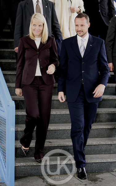 Crown Prince Haakon & Crown Princess Mette-Marit of Norway's three-day visit to Poland..Leaving Krakow Station at the end of their trip.
