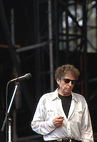 "Bob Dylan was born May 24, 1941. Despite his unparalleled influnce on modern culture he remains elusive and unpredictable.  This photo was shot towards the end of his performance on the ""What Stage,"" at the Bonnaroo Music and Arts Festival in Manchester, Tennessee, June 11, 2004."